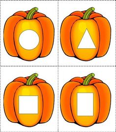 Matching the geometric shapes Geometric shapes matching cards In kindergarten math printable worksheets we will learn and match the basic Learning Numbers Preschool, Fall Preschool Activities, Toddler Learning Activities, Learning Skills, Circle Time Activities, Arabic Alphabet For Kids, Shapes For Kids, Former, Pumpkins