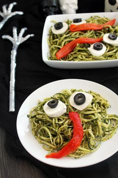 How To Make Pasta Recipes : Healthy Kid's Halloween Party Idea: Spooky Green Monster Zucchini Noodles