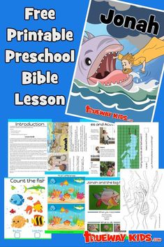 Jonah and the big Fish. FREE preschool Bible lesson. Printable includes games and activities, worksheets, coloring pages, craft, story and much more. Learn about Jonah running from God. Great for church, home or school. Preschool Bible Lessons, Bible Lessons For Kids, Free Preschool, Bible Games, Bible Activities, Toddler Activities, Jonah Craft, Free Bible Coloring Pages, Jonah And The Whale