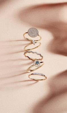 Create your own ring stack with these diamond rings, go big and bold or more minimalist depending on your style | Astley Clarke