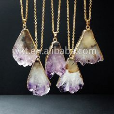 WT-N165 New!! Jewelry amethyst necklace in 24k gold plated, raw stone jewelry necklace by WKTjewelry on Etsy