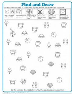 OT Activity of the Week: Find and Draw Summer Puzzle Freebie-pinned by @PediaStaff – Please Visit ht.ly/63sNtfor all our pediatric therapy pins