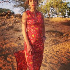 Red Long dress with double side split made by LoudandProudLondon