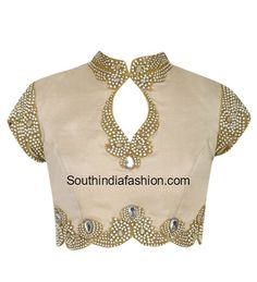 Pearl Work High Neck Blouse