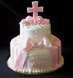 baptism cakes for girls | Two tier baptism cake w/ 2D cross