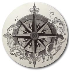 Hand Stained Compass Rose Drum Table Top