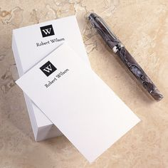 Note cards with your initial above and name below.