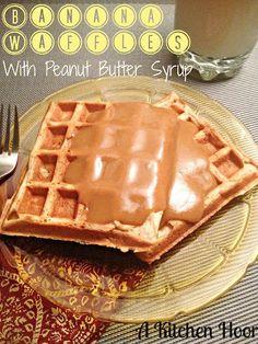 Banana Waffles with PB Syrup