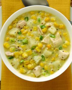 Try a delicious Chicken Corn Chowder recipe from Del Monte. Quick, easy instructions make this Chicken Corn Chowder recipe a breeze. Ww Recipes, Soup Recipes, Cooking Recipes, Recipies, Healthy Recipes, Dinner Recipes, Fancy Recipes, Skinny Recipes, Healthy Meals