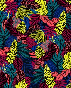 Neon Tropical Leafs by Marisa Hopkins | marisahopkins.com
