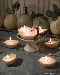 Lemon Candles  These naturally scented votive candles are made from hollowed-out lemon skins and beeswax.