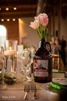 growler centerpieces for wedding | Found on annakirbyphoto.com