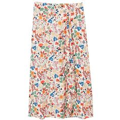 MANGO Floral wrapped skirt ($80) ❤ liked on Polyvore featuring skirts, flower print skirt, back zipper skirt, floral skirt, floral wrap skirt and floral printed skirt