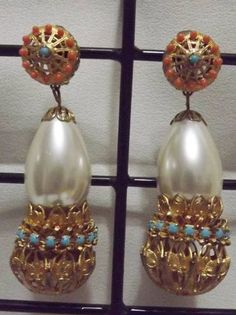 Fab Pair of Kenneth J Lane Vintage Runway Clip Earrings...Love these ...so 1960's...on my ebay site...