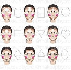 contour makeup Highlighting and contouring map for different face shapes Makeup 101, Makeup Tricks, Beauty Makeup, Face Contouring, Contouring And Highlighting, Body Makeup, Contour Makeup, Diy Highlighter, Maquillage Goth