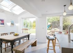 Cityzen redesigned the layout of this property's rear ground floor, restoring the kitchen as the heart of the home. Zen, Ground Floor, Restoration, Dining Table, Layout, Flooring, Architecture, Heart, Kitchen