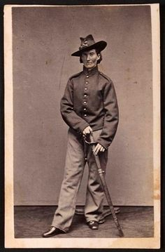 """Frances Clalin Clayton, woman who disguised herself as a man, """"Jack Williams,"""" to fight in the Civil War, wearing uniform."""