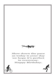 Created to match the Triathlon card cup547158_1566 though it is suitable for female sports birthday cards.