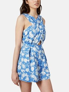 Adorable for the 4th of July! This blue and white cut out romper will be perfect with a pair of red sandals.
