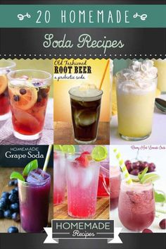 20 Homemade Soda Recipes by Homemade Recipes at http://homemaderecipes.com/course/drinks/20-homemade-soda-recipes/