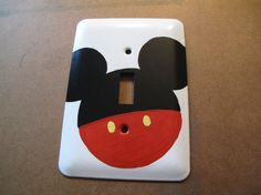 Paint a white switch plate Mickey Mouse Bathroom, Mickey Mouse Nursery, Mickey Mouse Classroom, Mickey Mouse House, Mickey Mouse Crafts, Baby Mouse, Mickey Mouse Clubhouse, Disney Classroom, Minnie Mouse