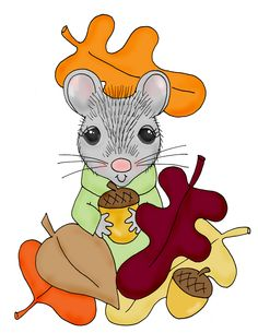 Free Dearie Dolls Digi Stamps: Fall Mousie