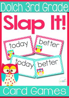 Dolch Sight Words for 3rd Grade Slap-It! card game. Great high energy game for reviewing Dolch 3rd Grade Sight Words! 41 words are included in this set. Other sets are available in my store. These cards could also be used on a Word Wall. (AD)