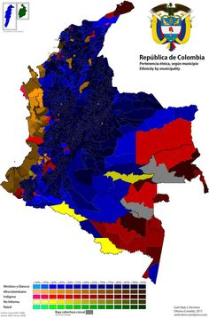 Ethnic map of Colombia by municipality, 2005 census data Ottawa, Colombia Map, Census Data, Birthday Bag, Information Design, High Quality Images, South America, History, Diego Garcia