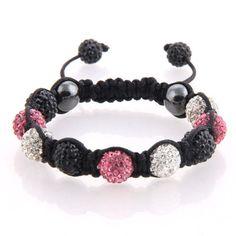 Pink, Black and White Swarovski Crystal Shamballa with black crystal end beads.