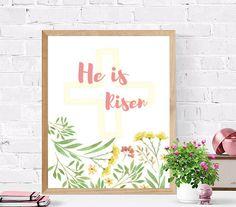 He is Risen Printable  Art Wall Decor  Scripture Verse Print