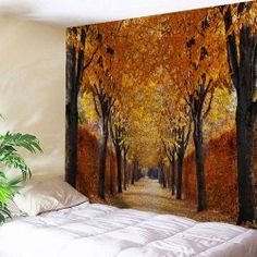 Autumn Grove Scenery Throw Wall Art Tapestry - Gold Brown W71 Inch * L91 Inch Washable Landscape