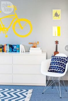 boys bedroom | room | ideas and design  really like the yellow bicycle