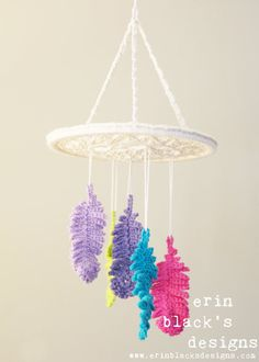 "DIY Crochet PATTERN - Dreaming of Feathers Dreamcatcher Inspired 10"" diameter Mobile and Wall Hanging (HomDec007)"