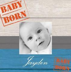 Geboortekaartje met foto op Steigerhout. De goedkoopste geboortekaartjes online ontwerpen en bestellen via http://www.geboortepost.nl/geboortekaartjes/foto-zelf-plaatsen/own-picture-on-wood-boy-vk.html