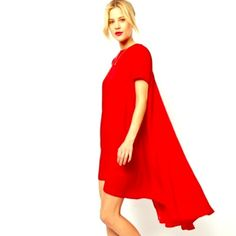 Selling this  - RED High Low Sexy Smock Dress in my Poshmark closet! My username is: hacsince91. #shopmycloset #poshmark #fashion #shopping #style #forsale #The Haute Holly-Would Hive LLC #Dresses & Skirts