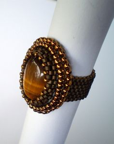 Bead Embroidery  ring Bronze Brown Tiger'seye Seed beads by Vicus, $15.00