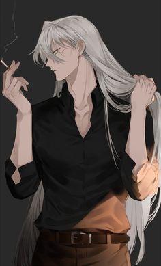 Gin Akai (Detective Conan) ,Boys Love - My Manga Anime Sexy, Hot Anime Boy, Anime Sensual, Dark Anime Guys, Cute Anime Guys, White Hair Anime Guy, Anime Boy Long Hair, Anime Boys, Manga Anime