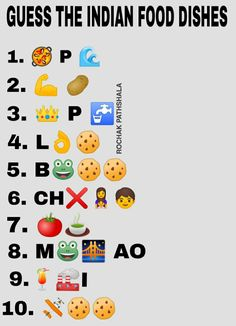whatsapp puzzles : guess the Indian food dishes name Funny Games For Groups, Games For Ladies, Funny Party Games, Guess The Emoji Answers, Quiz With Answers, Food Riddles, Emoji Words, Word Brain Teasers, Emoji Names