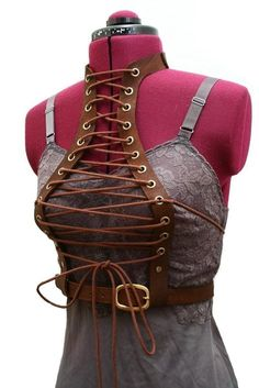 brown leather lace-up corset--- different... maybe flip it to the back, I don't know, it's starting to grow on me--- wasteland weekend