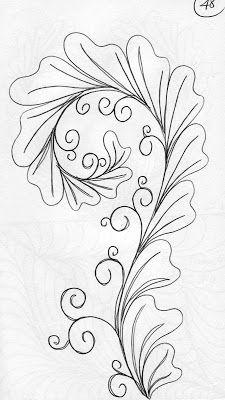 LuAnn Kessi: Quilting Sketch Book....Asymmetrical Feathers