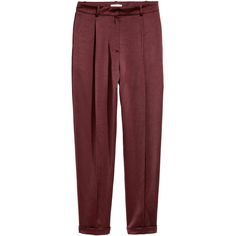 Satin trousers 149 AED ❤ liked on Polyvore featuring pants, burgundy pants, high-waisted pants, burgundy high waisted pants, faux-leather pants and high waisted trousers