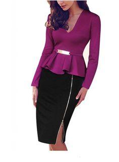 Viwenn Women Elegant Colorblock Long Sleeve V Neck Peplum Zip Tunic Business Party Bodycon Pencil Dress