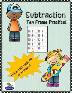 Subtraction - Subtraction Ten Frame Practice - use as task cards or worksheets! Includes a set of 60 task cards, answer keys, recording sheets, teacher and student directios. You can cut these apart and laminate to use as task cards, or just print out the sheets to use as worksheets and your students can write on them.