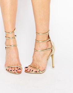 Image 1 ofPublic Desire Nikki Gold Strappy Heeled Sandals