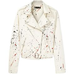 Diesel G-Lupus Splattered Biker Jacket (12820 RSD) found on Polyvore featuring outerwear, jackets, tops, white, zip jacket, white zipper jacket, pattern jacket, moto zip jacket and lined jacket