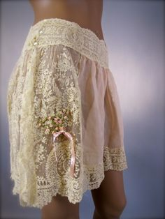 1910s lingerie - Brussels lace tap pants with ribbon embroidery detail