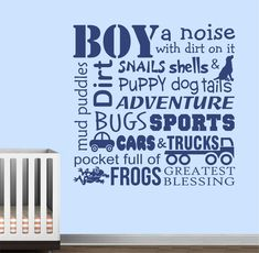 Definitions of a Boy Vinyl Decal Vinyl Wall Lettering Wall Quotes Boy Room Decor