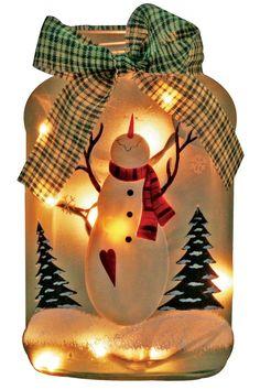 Amazon.com - Verlichte kerstvakantie Jar Handgeschilderde Snowman Frosted glazen pot met Lights Rice Inside - Collectible Beeldjes