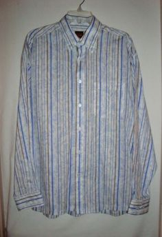NEW-w-Tags-ZANZARA-Mens-Striped-Long-Sleeve-Cotton-Sport-Shirt-Size-Lg