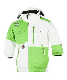 Take a look at this White & Green Superpipe Jacket - Toddler & Boys by Obermeyer on #zulily today!